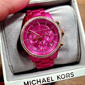 MK Hot Pink/Sparkly Rose Gold Watch💗